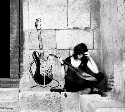 XXL Wandschablone Gitarre