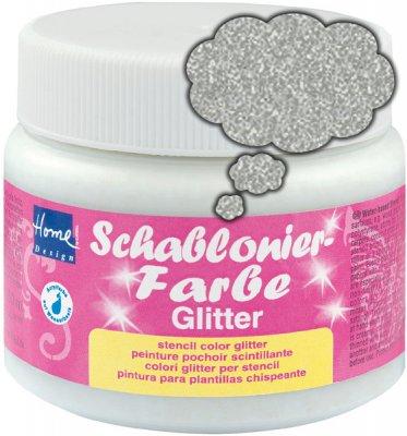 Schablonierfarbe Glitter Silber fein