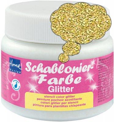 Schablonierfarbe Glitter Gold