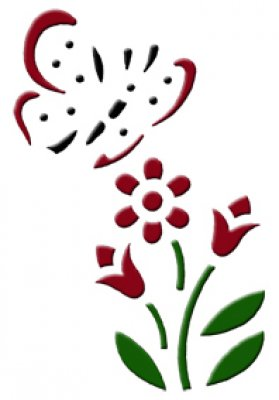 3D Wandschablone Blume & Schmetterling
