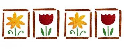 Dekor-Schablone Blumenquartett 1