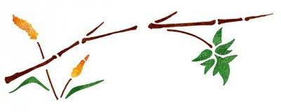 Dekor-Schablone Bambuszweig