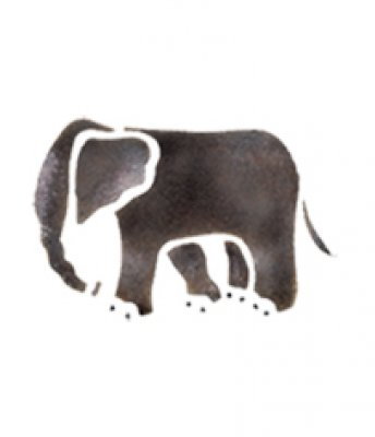 Wandschablone Elefant