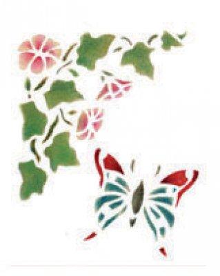 Wandschablone Blume mit Schmetterling