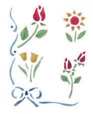 Wandschablone Blumen mit Schleife