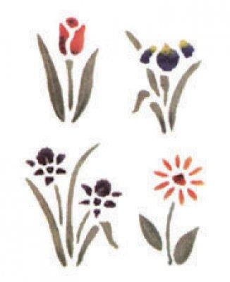 Wandschablone Vier Blumen