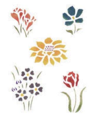 Wandschablone Kleine Blumen