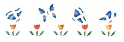 Wandschablone Schmetterlinge im Tulpenbeet