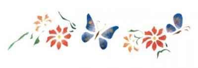 Wandschablone Schmetterlinge & Blumen