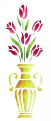 Wandschablone Tulpenvase