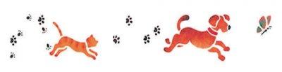 Wandschablone Katze und Hund