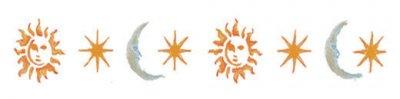 Wandschablone Sonne, Mond und Sterne