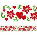 Wandschablone Herzchen & Blumen